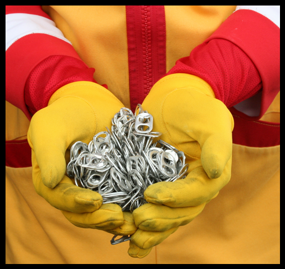 Ronald hands with pop tabs